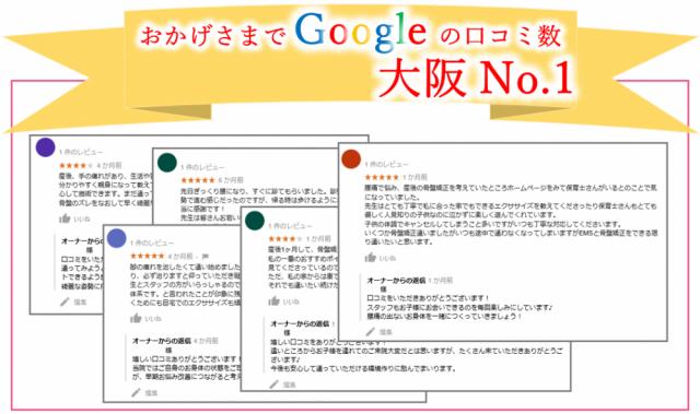 おかげさまでGoogleの口コミ数豊中No.1
