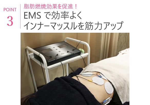 POINT3 EMSで効率よくインナーマッスルを筋力アップ